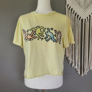 AEO | Keith Haring Yellow Cropped Tee size M